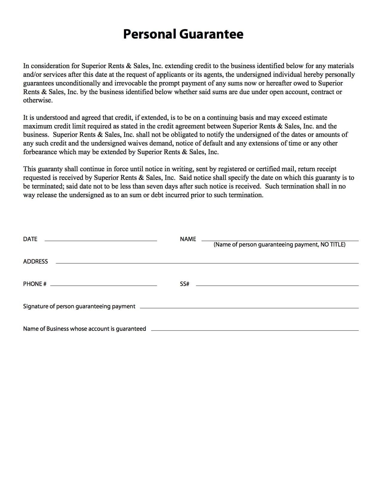 Apply for an Account Superior Rents Equipment Rental – Superior Service Application Form